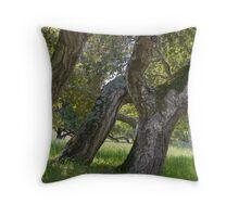Three oaks on a hillside- Toro Park, Monterey Throw Pillow