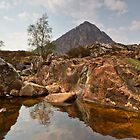 Volcanic Rockpool and Buachaille Etive Mor by Bill Buchan