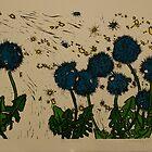 Blue Puffs- xylography by Amanda Heigel