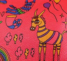 Striped Creatures on Red Leather by DEB CAMERON