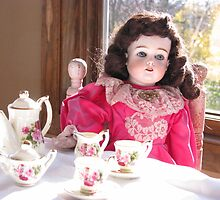 Antique Doll With Her Tea Set by VivianRay