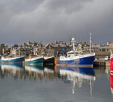 Fraserburgh Colourful Fishing Boats Harbour Scene by Bill Buchan