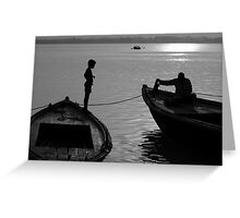 Boy on the Ganga Greeting Card