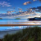 Abersoch Warren beach golden light and blue sea. by Turtle  Photography