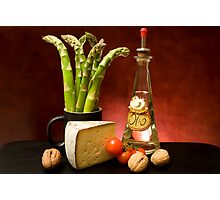Still Life With Asparagus, Cheese And Olive Oil Photographic Print
