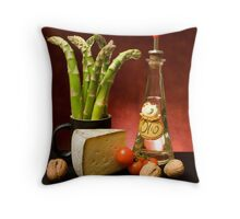 Still Life With Asparagus, Cheese And Olive Oil Throw Pillow