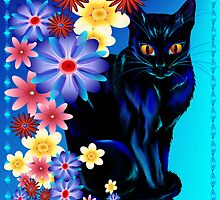 Black Garden Kitty by Lotacats