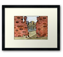 070 - IF ONLY THESE BRICKS COULD TALK I (WATERCOLOUR & INK) - 1997 Framed Print