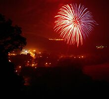 Fireworks over West Liberty by Kent Nickell