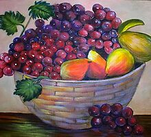 Basket of fruit.  Still life by my mom....YONEKO by kellimays