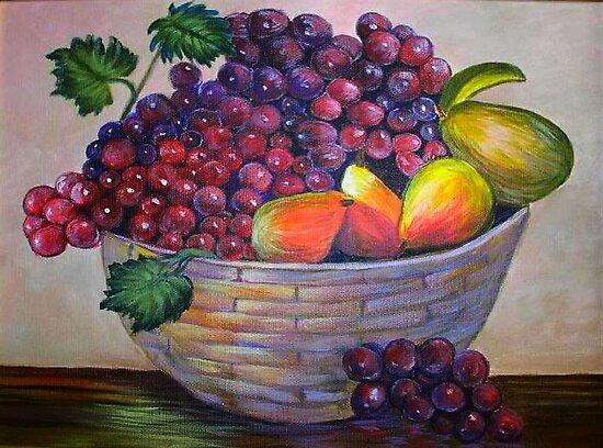 Basket of fruit.  Still life by my mom....YONEKO by kellimays