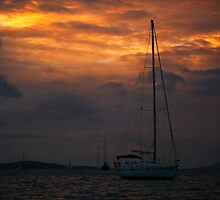 Sail Boat Sunset Sky by 104paul