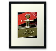 """A 1915 Model T ~ """"Motometer""""  which is a ~ Hood Ornament ~ Radiator Cap ~Temperature Gauge~ Framed Print"""