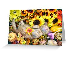 Di Milo ~ Cute Kitty Cat Kitten in Decorative Fall Colors Greeting Card