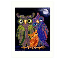 'Owl I Want Is You' - the cutest owl family ever! Art Print