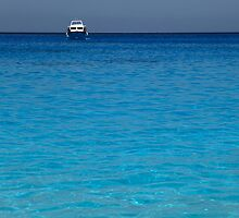 clear blue water and a boat  by milena boeva