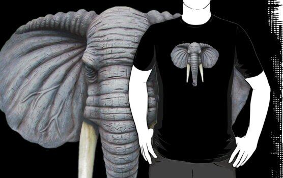 Elephant Head T-Shirt by Walter Colvin