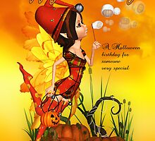 Halloween Birthday Fairy Blowing Bubbles by Moonlake
