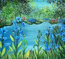 Garden of blue poppies by maggie326