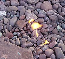 Beach Stones on Fire by mrscaer