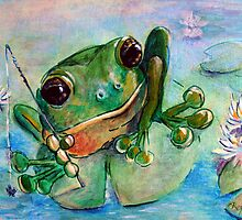 Frog Fly Fishing by Colleen Reynolds