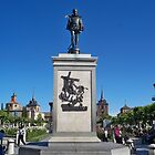 Statue of Miguel de Cervantes, Cervantes Plaza, Alcala de Henares, Madrid, Spain by MONIGABI