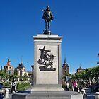Statue of Miguel de Cervantes, Cervantes Plaza, Alcala de Henares, Madrid, Spain by MONIGABI
