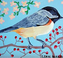 Chickadee and Winterberries - Wildflowers and Blue Sky by skyefolk