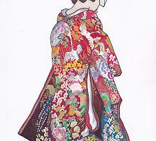 Japanese Bride in Colorful Kimono 2 by anajayarts