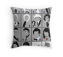 The Eleven Doctors and His Latest Companions Throw Pillow