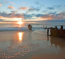 Dicky Beach Wreck - Caloundra Qld by Beth  Wode