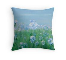 Blue white flowers Throw Pillow