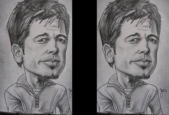 brad pitt caricature. Brad Pitt caricature by