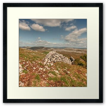 View looking from the very scenic Glen Hill in The Burren, county Clare between Carron and Boston villages