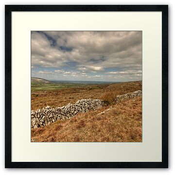 Stone walls in The Burren in county Clare looking towards Ballyvaughan and Fanore