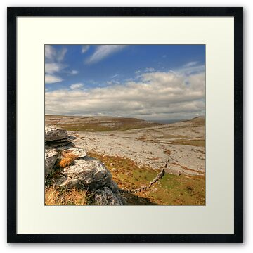 Stone wall and scenic view high in the mountains at Black Head in The Burren near Fanore village