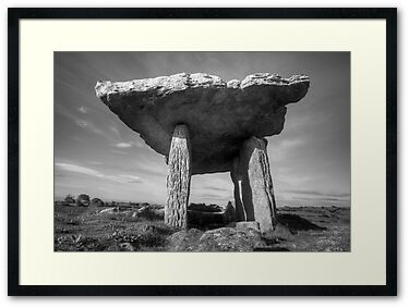 Black and White photo of the Poulnabrone Dolmen in The Burren in county Clare