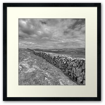 Black and White photo of stone wall at Glen Hill in The Burren in county Clare