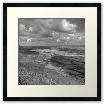 Black and white view from Slieve Carran and Eagles Rock in The Burren, county Clare. This part of The Burren is in The Burren National Park and is an area of incredible beauty