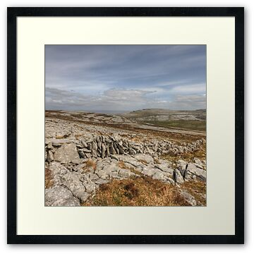 Landscape view in The Burren in county Clare near Slieve Elva and Black Head looking towards Fanore and Ballyvaughan