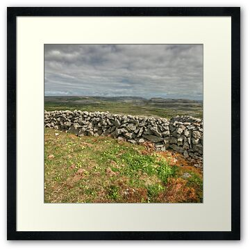 Stone walls and stone mountains in The Burren National Park behind Knockanes mountain in county Clare