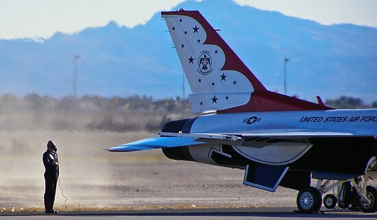 USAF Thunderbird #1 engine start during 2009 Aviation Nation Air Show at Nellis Air Force Base