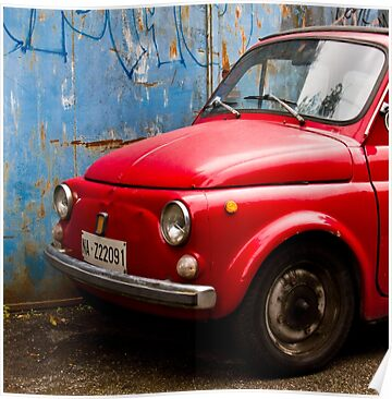 Poster: Vintage and rustic little red car
