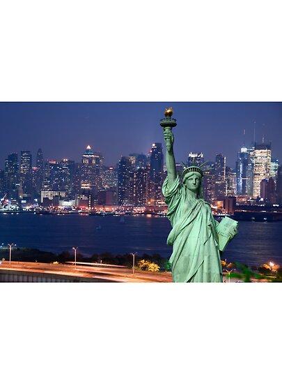 new york city skyline at night. new york city skyline night.