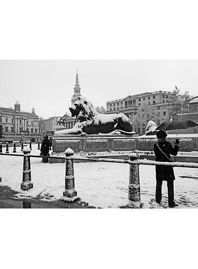 London Trafalgar Square in the Snow