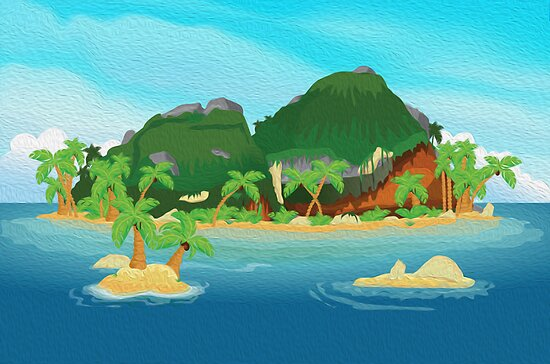 "Tropical Island Cartoon: ""Tropical Island Oil Painting"" By Nick Greenaway"