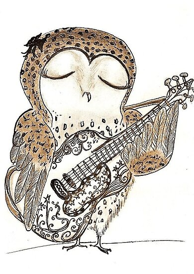 owl playing the guitar - photo #5