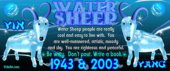 chinese zodiac water sheep 1943 2003 born by valxart redbubble. Black Bedroom Furniture Sets. Home Design Ideas