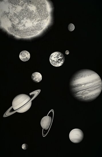 a black and white labeled picture of the solar system in order of jupiter - photo #30