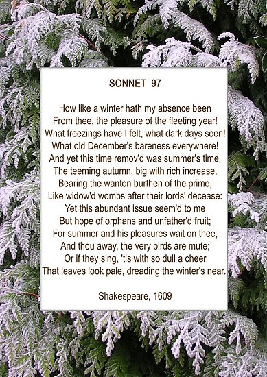 """Shakespeare's Sonnet 97, especially good as a card."" by ..."